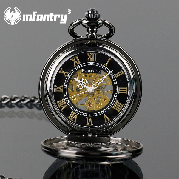 Pacifistor Antique Mechanical Skeleton Unique Chain Pocket Watch