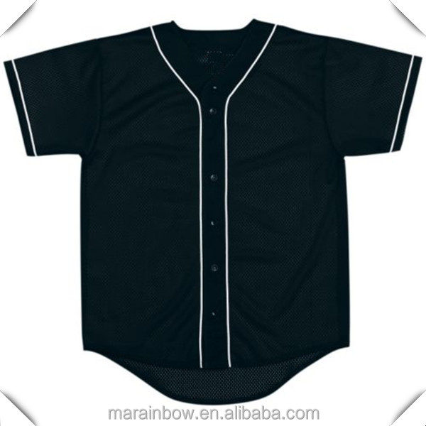 2017 new arrivals hot sale black mesh 100% polyester baseball jersey with contrast piping blank baseball jerseys wholesale