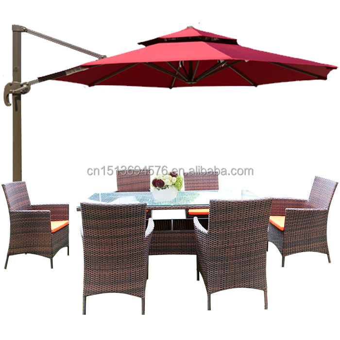Rust Proof Outdoor Dinning Table & 6 Chairs Garden General Use Rattan/Wick Handiwork Patio Furniture