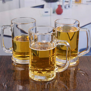 Promotional High quality cheap price glass beer mugs/steins with handle and custom logo
