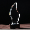 Flash shape crystal trophy glass award with black base