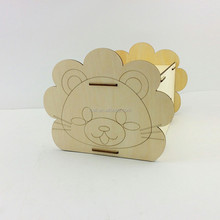 China wholesale personalized custom wood tissue box with wood animal lion shape design