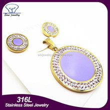2015 fashion jewellery design 316l stainless steel earring pendant crystal circle c 18k gold plated jewelry sets