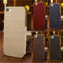 Fashion Wood Grain Protective Shell Hard Metal Phone Case Cover for Iphone 5 5s