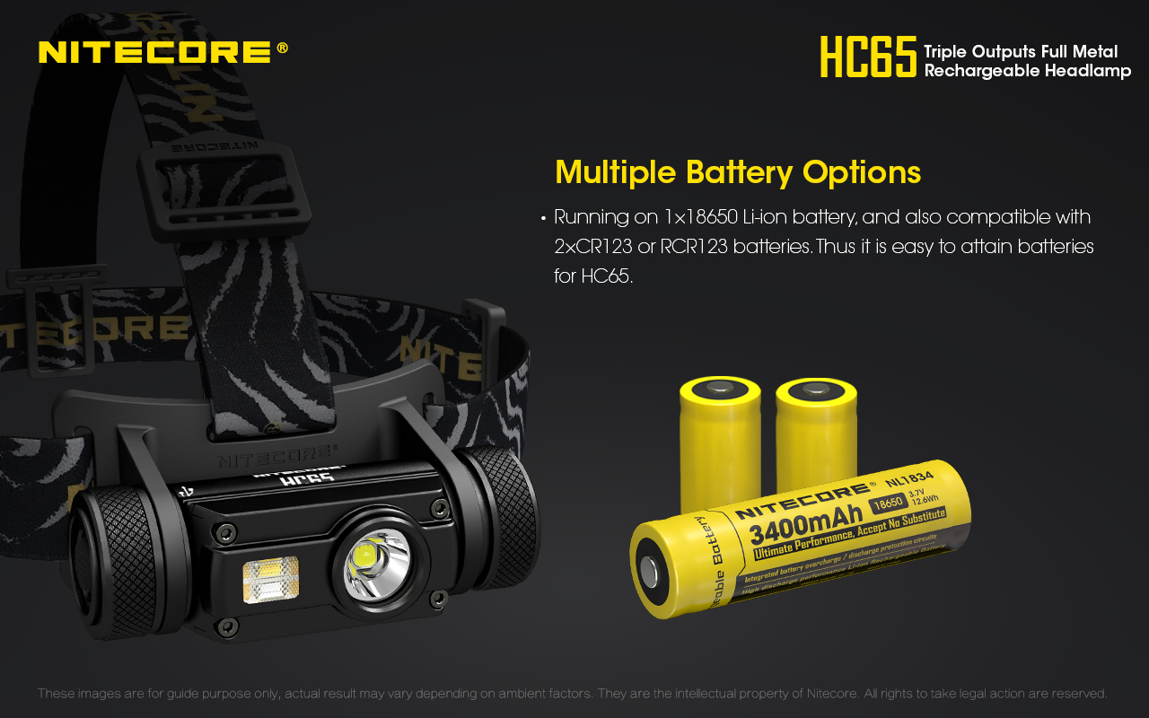 NITECORE HC65 1000 lumens triple output full metal rechargeable LED headlamp