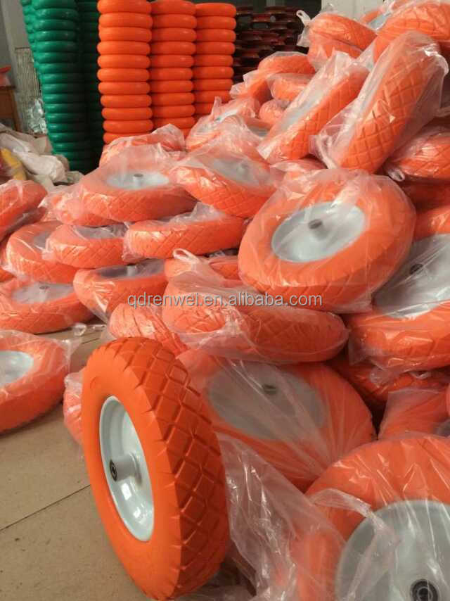 14 inch Solid Rubber Wheel for Wheelbarrow with Steel Rim/3.50-8 Pu Foam Wheel & Flat Free Tire