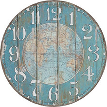 WORLD MAP ROUND MDF WALL CLOCK