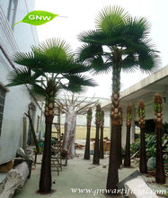 APM018 GNW plastic palm tree with artificial palm tree leaves for garden landscaping decoration
