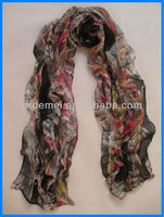 spring polyester lady feather scarf printing