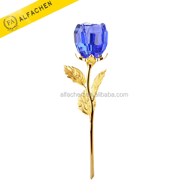 Unique Gold Leaves Royal Blue Rose Romantic Crystal Flower Wedding Door Gifts