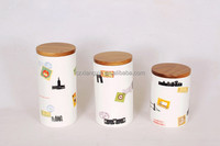 Wholesale modern canister decal candy jar ceramic with lid