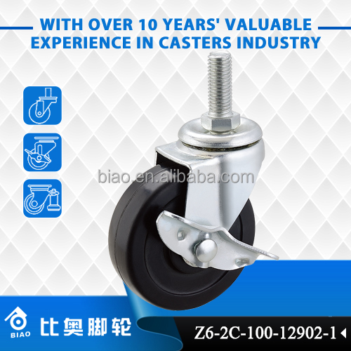 Swivel Threaded Stem Mounting Total Locking 4 Inch Casters for Shelving System
