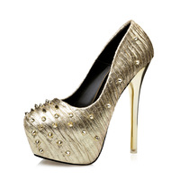 Luxury Golden Rivets Pumps Womens Fashion Stiletto Platform High Heels