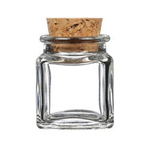 STOCK PRODUCTS 40ml 1.7oz Small Square Food Container <strong>Glass</strong> Storage <strong>Jar</strong> Candy <strong>Jar</strong> with Cork