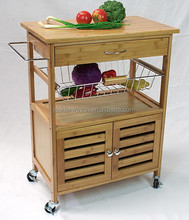 Hot sell bamboo kitchen trolley with basket and storage cabinet