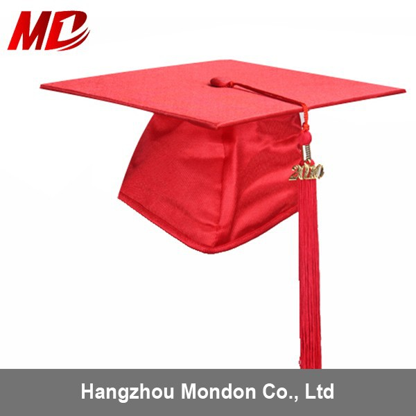 Hot Seller children Graduation Hats for school Wholesale Shiny Red