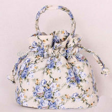 2014 Fashion korean drwastring lady vintage sweet canvas stylish clutch bags