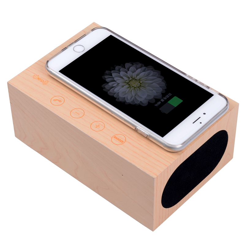 New NFC wooden bluetooth docking station speaker with alarm FM radio mini speaker with wireless charger