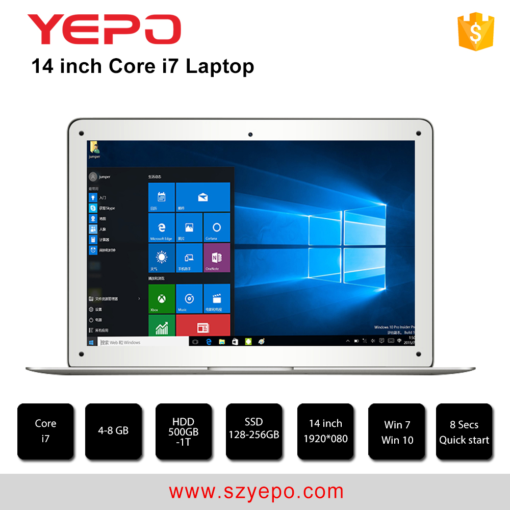 China top ten selling yepo laptop <strong>14</strong>'' notebook 4GB 500GB HDD laptop i7 not used laptop