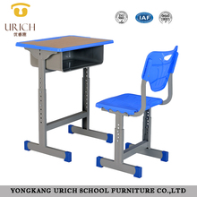 Adjustable student desk and chair set middle school desk and chair single school desk with attached chair