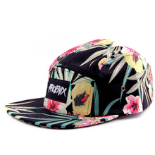 wholesale wool embroidery 5 panel hats/flower floral 5 panel hat