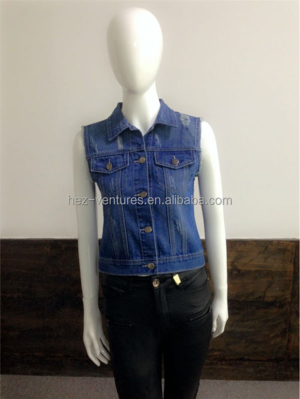 Womens distressed slim fit indigo/ black Denim Vest/ ladies stretchy denim vest womens fashion cotton spandex denim vest