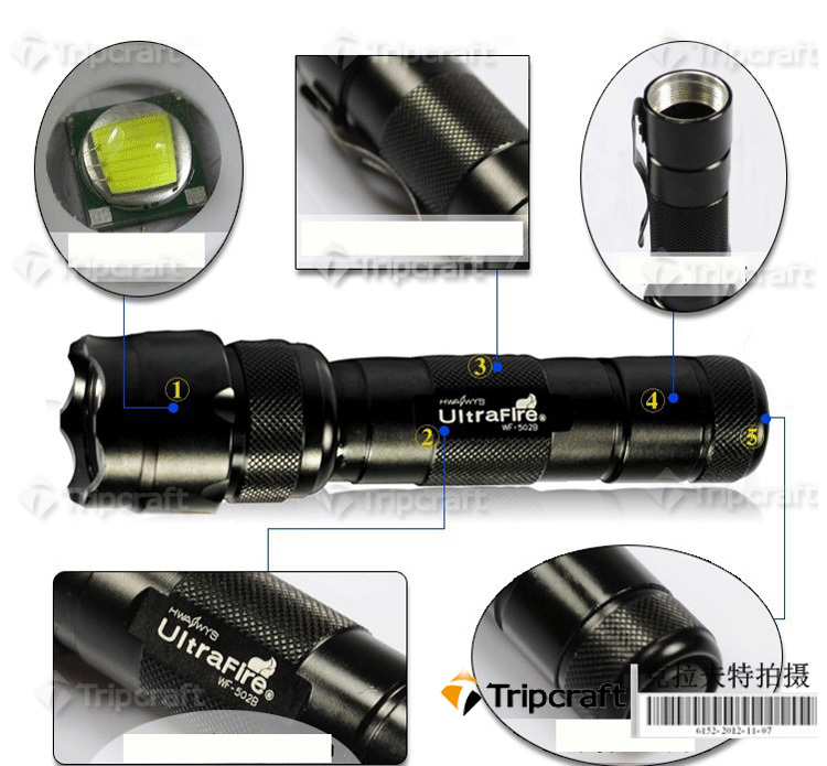 High Power Rechargeable Industrial Led Flashlight And