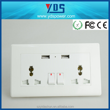 multiple function British standard Wall mounted double switch socket with double usb charge usb wall socket 240v