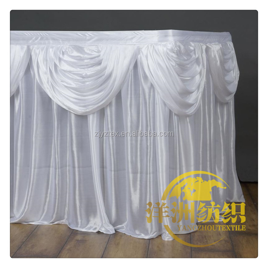 luxury white table skirt with swag 100% Polyester Plain Fabric Pleated Style Table Skirts