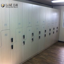 Lijie 3 tiers/column gym clothes locker/ HPL lockers with bench for club