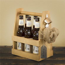 Natural wood colour bottle caddy Candlenut beer carrier