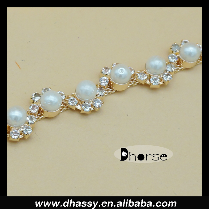 DH-RT0027 Gold Metal Cup Crystal Rhinestone Pearl Chain Trim Wedding belt, Bridal Sash, Rhinestone necklace,Pearl Bracelet