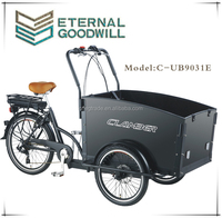 Adult electric tricycle UB9031E 6 speed electric cargo bike 20/24 inch three wheel bicycle with wooden box