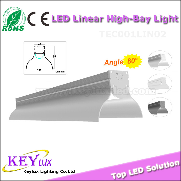 UL ROHS CE Hanging install industrial 60w 70w led linear high bay light