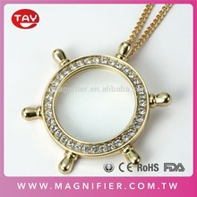Fashion Trend Helm With Rhinestones 36mm Lens Bead Pendant Magnifier