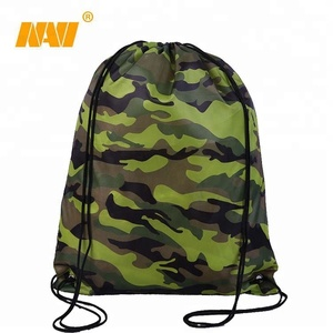 cheap custom polyester camouflage color drawstring bag