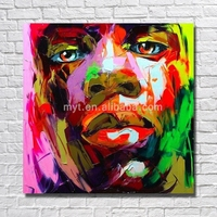 Abstract knife art face oil painting nude black african people handmade picture