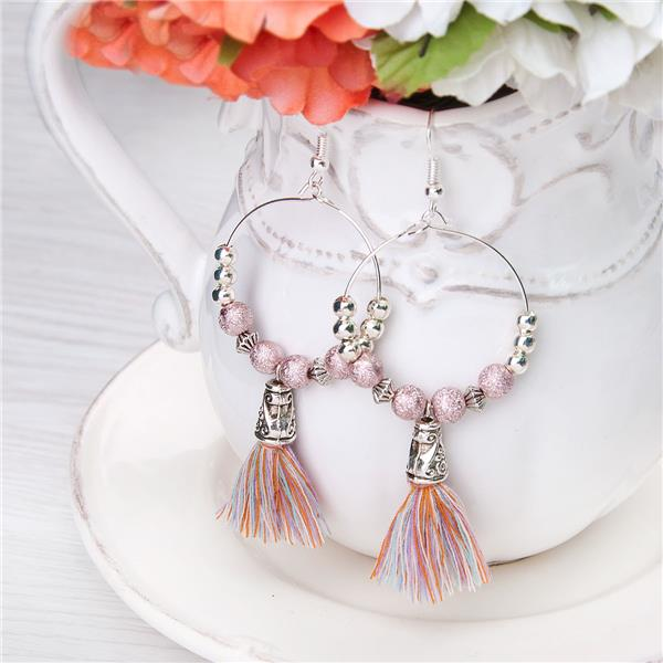 Cotton Multicolor Tassel Earrings Round Silver Plated Acrylic Mauve Beads 78mm x 32mm