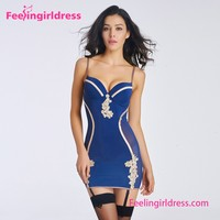 Hot 2016 Girl Sexy Blue Mesh Style Lingerie Nightwear Strap Babydolls Pic
