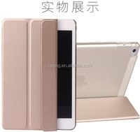 Ultra Thin Slim Light Three Fold Transparent Clear Silk line Leather Case For Ipad 5 Air ipad Mini