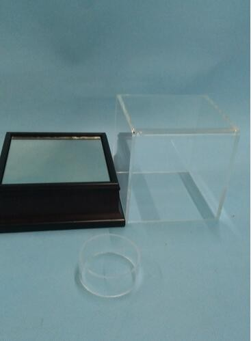 Acrylic Mahogany Baseball Display Case Acrylic Case with Wooden Base