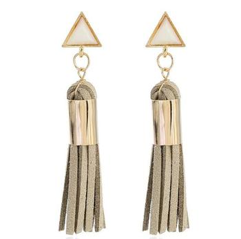 Exaggerated Gold Triangle Pendant Long Leather Tassel Earrings New Arrival Fashion Tassel Dangle Earrings Women's Jewelry
