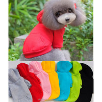 Free Shipping!!7 Solid Colors Warm Pet Dogs Clothes Puppy Cat Apparel Plain Dog Hoodie