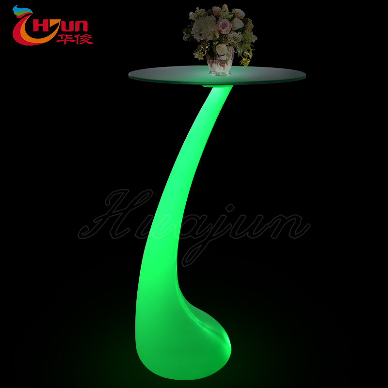 factory wholesale modern fashionable high round led glass coffee table