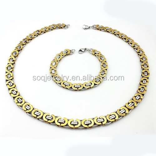 Europe Vintage Mens Jewelry Sets Stainless Steel Two Tone Flat Byzantine Chain Necklace + 18k Gold Silver Cuff Bracelet