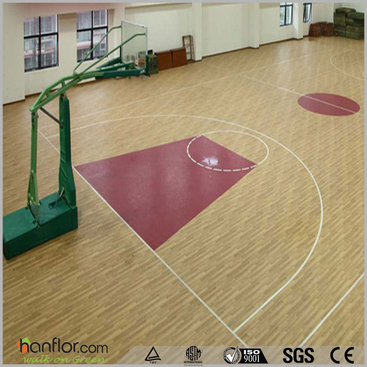 Wooden pattern pvc roll flooring for indoor basketball court use