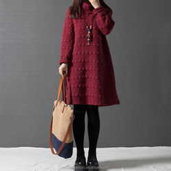 monroo Autumn and Winter Cotton Long Sleeve Turtleneck Dress Plus Size Women Clothing Black Red Gray Color Loose Vintage Dress