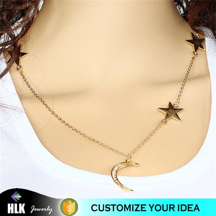 xp jewelry anime golden stars moon clavicle necklace