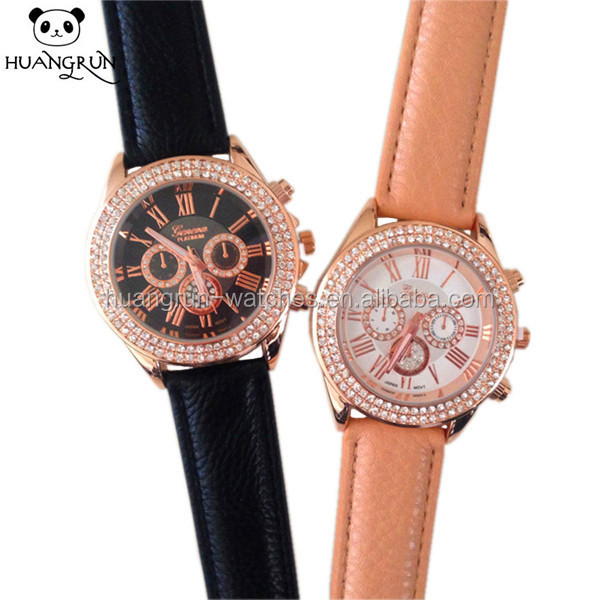 2015 Vogue rose gold crystal cute leather couple watch