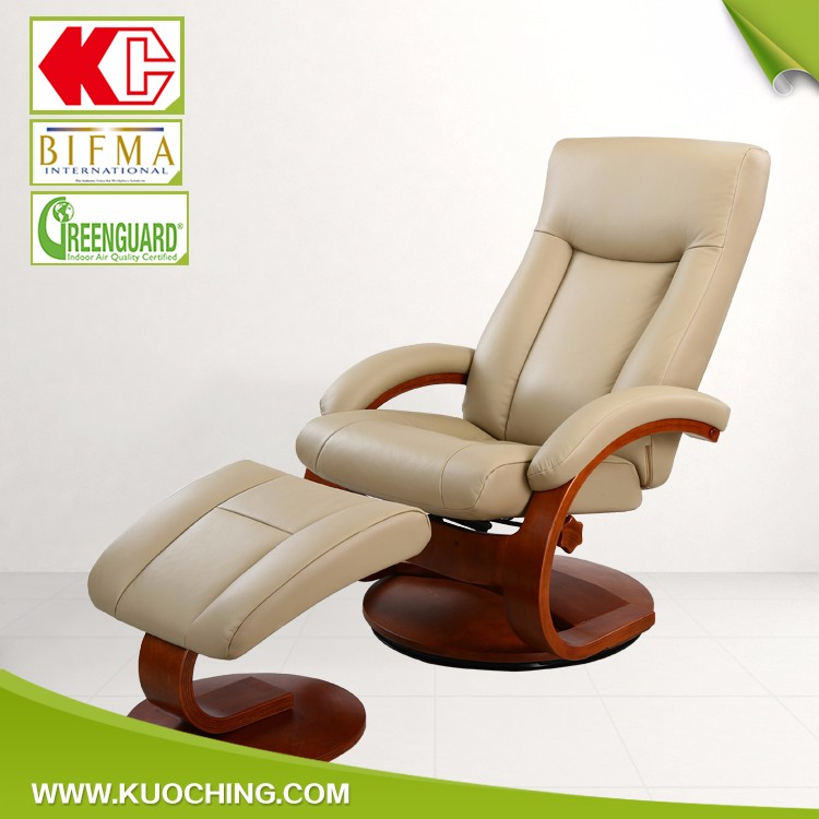 European Style Lumbar Support Wooden Painted Swivel Leather Recliner Wholesale